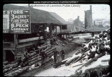 Lumber yard in Lewiston,  circa 1900