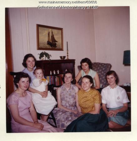 Cottage baby Brent with students, Farmington State Teachers College, 1959