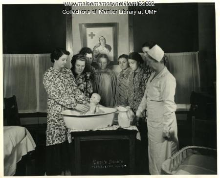 Home Economics class with nurse, Farmington State Normal School, ca. 1930