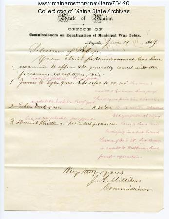 Sebago Bounty Reimbursement Claim Questions, 1869