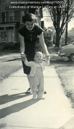 Baby Peter learning to walk, Farmington State Teachers College, ca. 1951