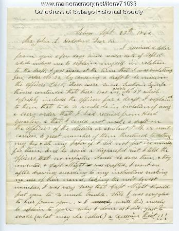 David Brown's letter from Sebago to John L Hodsdon, 1862