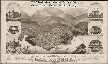View of Bar Harbor and Mt. Desert Island, 1886