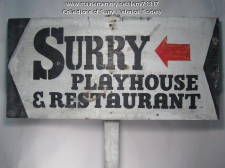 Surry Playhouse & Restaurant signage, ca. 1950