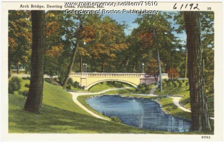 Arch bridge at Deering Oaks Park, Portland, ca. 1938