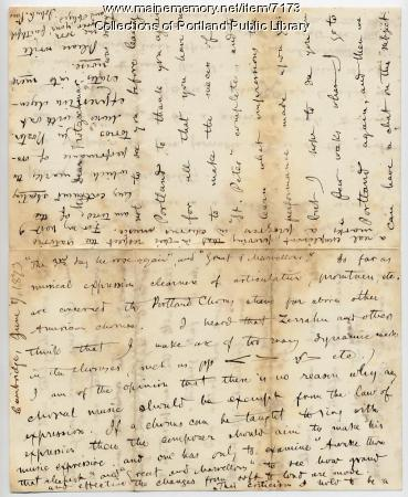 John Knowles Paine letter to Hermann Kotzschmar, 1873