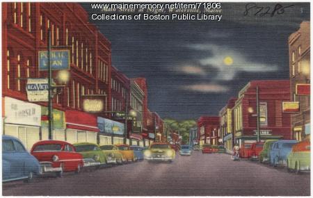 Main Street at night, Waterville, ca. 1938