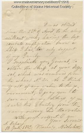 Plea for return of skiff, New Orleans, 1862