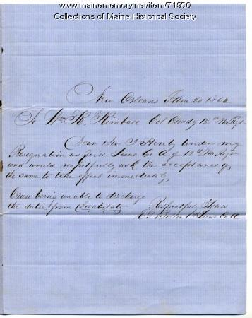 Lt. Elbridge Bolton resignation, New Orleans, 1862
