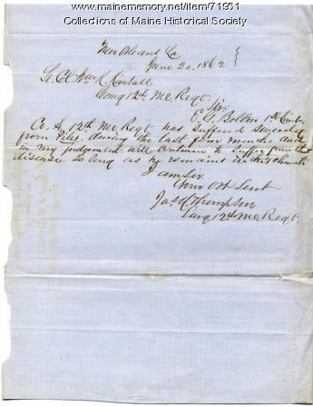 Surgeon letter on soldier resignation, New Orleans, 1862