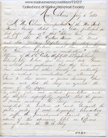 Statement denying charge of returning slaves, New Orleans, 1862