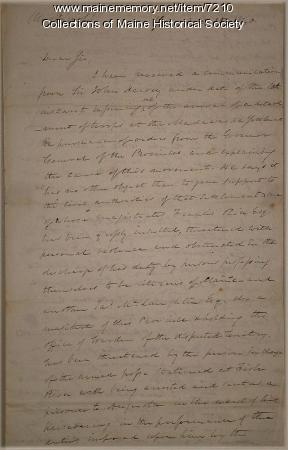 Gov. John Fairfield letter about Madawaska, 1840
