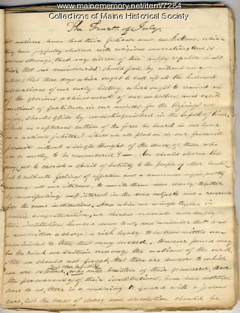 Fourth of July essay, 1837