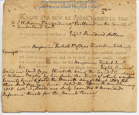 Deed of land in Cape Elizabeth
