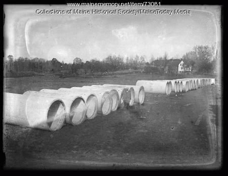 Water pipes, Sebago Lake, ca. 1924