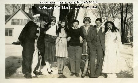 Costumed crew, Farmington State Normal School, ca. 1928