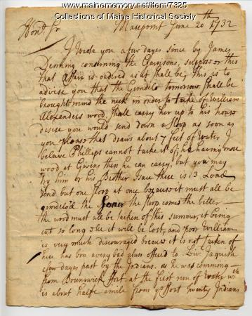 Letter regarding the murder of Sebastien Rasles, 1732
