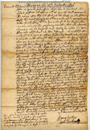 Letter about Indian Raid on Casco Bay, 1676