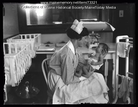 Student nurse in maternity ward of Maine General Hospital, Portland, 1926