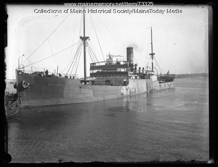 """Steamship """"Medomsley,"""" Portland Harbor, ca. 1926"""