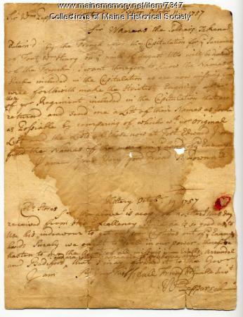 Prisoner of war letters, 1757