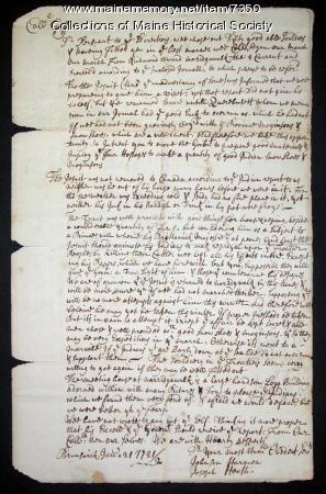 Letter about Abenaki village raid, 1721