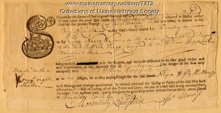 Bill of lading for slave, 1719