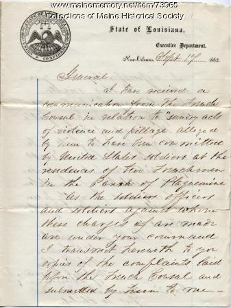Brig. Gen Shepley to Brig. Gen. Dow on pillaging, New Orleans, 1862