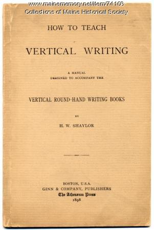 'How To Teach Vertical Writing' manual, 1898