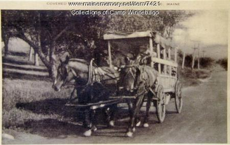 Postcard of covered wagon trip, Camp Winnebago