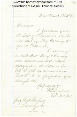 Col. Kimball letter on 12th Regt. promotions, 1862