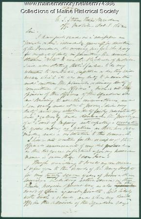 George Henry Preble plea for reinstatement, Mobile, AL, 1862