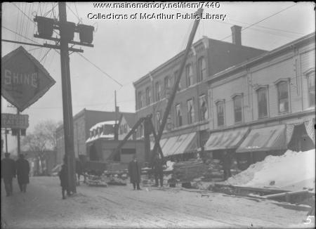 Sewer construction, Main Street, Biddeford, 1914-1915