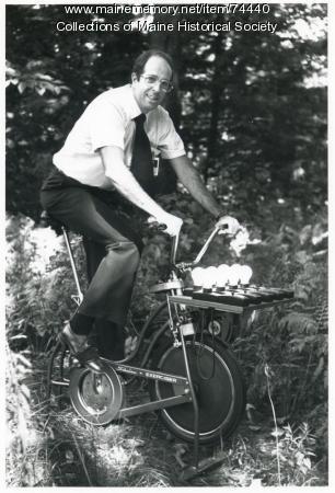 Human-powered generator, ca. 1975