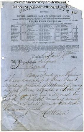 Hiram Alden telegram to F.O.J. Smith, 1853
