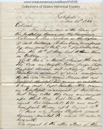 Capt. Appleton report on claim against U.S., Louisiana, 1862