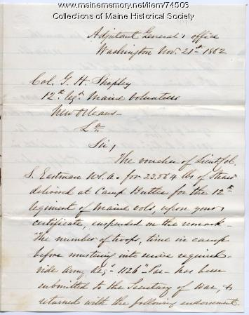 Rejection of bill for straw for 12th Maine, Washington, D.C., 1862