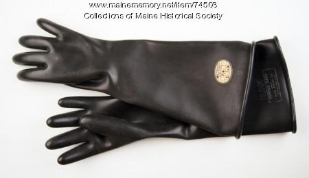 Rubber electrical worker gloves, ca. 1935