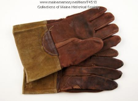 Electrical worker leather gloves, ca. 1930