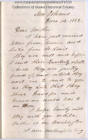 Gen. G.F. Shepley to his mother, New Orleans, 1862