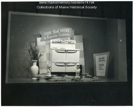 Electric cookery display window, ca. 1940