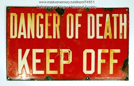 Electrical 'danger' sign, ca. 1930