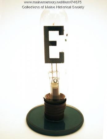 'E' neon glow bulb, ca. 1930
