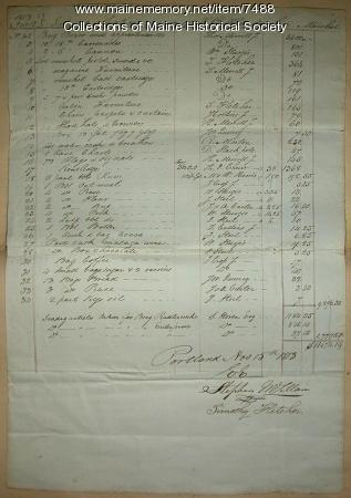 Auction record of 'Boxer,' Portland, 1813