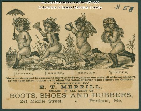 E. T. Merrill shoe broadside, Portland, ca. 1870
