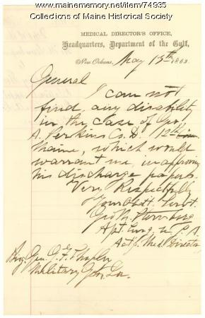 Medical director report on Perkins, New Orleans, 1863