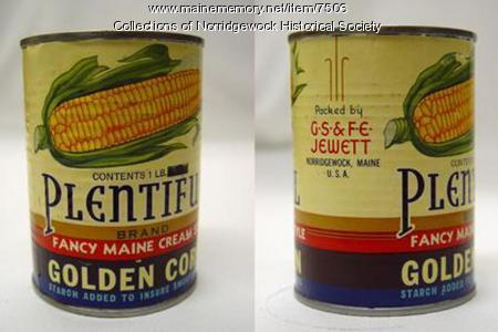 Jewett Vegetable Cans, Norridgewock, ca. 1900