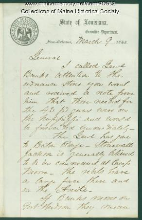 Gen. Shepley warning on Rebel attack, New Orleans, 1863