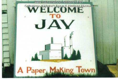 Welcome to Jay sign, ca. 1986