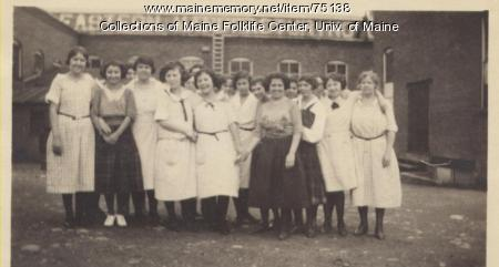 Women outside of Eastern Manufacturing, Brewer, ca. 1920